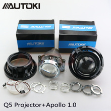Autoki Car Styling Auto Metal Q5 3.0 inches HID Bi xenon Headlight Projector Lens+Apollo 1.0 mask Use D2S D2H Bulbs Lamps(China)