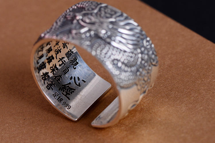 Heart Sutra Real 999 Pure Silver Biker Rings With Flying Dragon