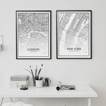 900D Posters And Prints Wall Art Canvas Painting Wall Pictures For Living Room Nordic Decoration City Grid Map YM008(China)