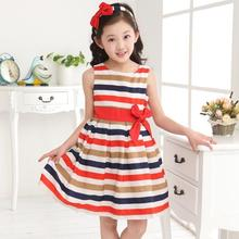 2017 Kids Children Baby Girls Dress Casual Stripe Toddler Girls Dresses Sleeveless Bow Cotton 2-12 Years Girls Clothes