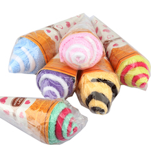 Hot-sale  Portable Double Color Cute Soft Washing Towel Shaped Ice Cream Gift Favor (Random Color)