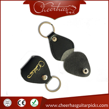 Leather guitar pick holder pendant keychain