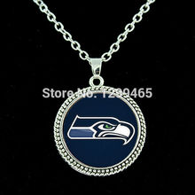 Seattle Seahawks pendants silver chain football jewelry glass cabochon statement chain necklace your finish choe N 090(China)