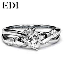 EDI 1CT Heart Shape St. Patrick's Simulated Diamond Jewelry Ring 10K White Gold  Hand in Hand Clovers Ring For Women Gifts