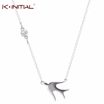 Kinitial 1Pcs 925 Silver Cute Bird Swallows Necklace Animal Birds Pendants Necklaces For Women Birthday Gifts Silver Jewelry
