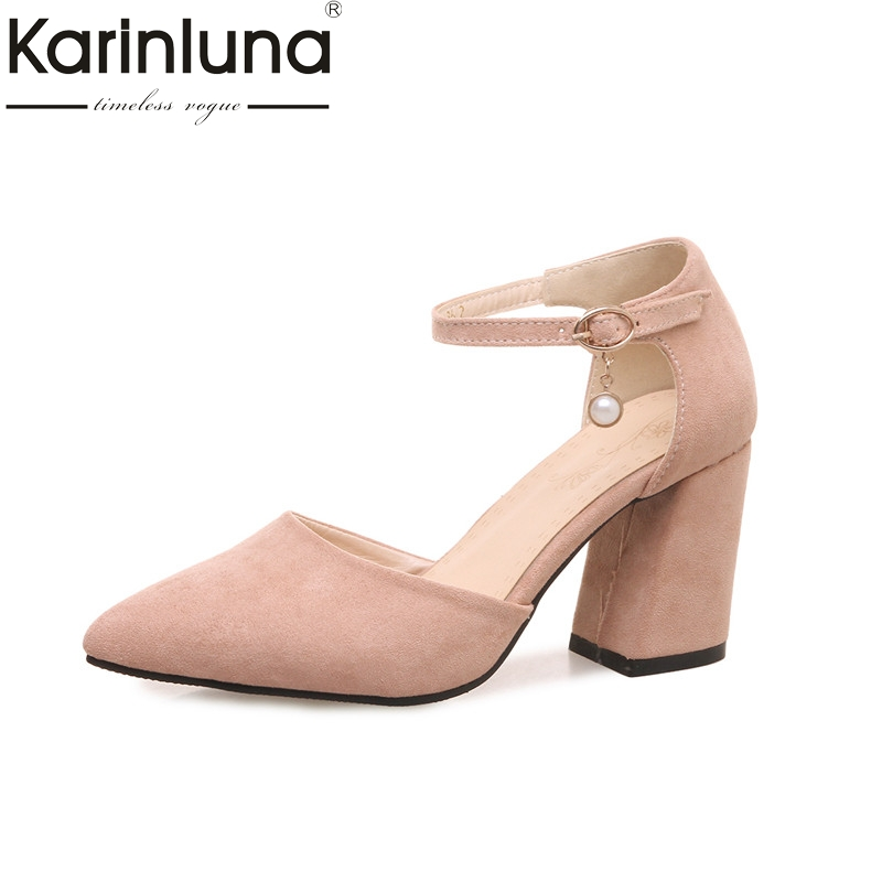 KarinLuna Womens Ankle Strap High Heels Pointed Toe Summer Shoes Woman Nubuck Party Wedding Leisure Pumps Big Size 32-46<br>