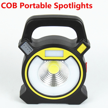 30w led cob portable spotlight lantern searchlight rechargeable handheld power by 18650 battery portable light for camping(China)