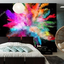 Color wallpaper.colorful powder on black background,Modern photo for living room bedroom restaurant wall embossed wallpaper(China)