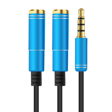 3.5mm Audio Splitter Cable Jack Plug Male To 2 Female Earphone Extension Cables Headphone Microphone Adapter For iphone MP3 iPad