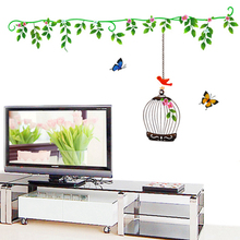 Vine Birdcage Stickers Wall Sticker Wall Art Home Decoration Accessories Bedroom Decor Wall Stickers Home Decor Living Room(China)