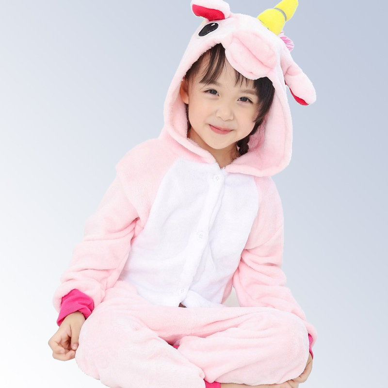 Animal Unicorn Stitch Pegasus Pikachu Pajamas Flannel Hooded Kids Sleepwear Cartoon Cosplay Children Pajamas Onesies 4-12Year