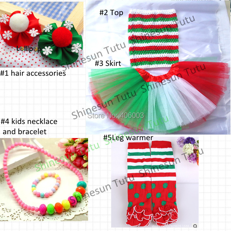 2014 baby girls christmas costumes tutu set<br>