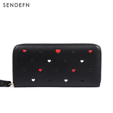 SENDEFN Heart Wallet Women Purse Brand Coin Purse Zipper Bag Wallet Female Long Wallet Women Split Leather Purse For iPhone 7S