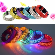 3 Mode Lighting Leopard LED Dog Collar Flashing Nylon Safety Pet Collar Luminous Pets Accessories E2S