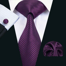 LS-1436 Barry.Wang Fashion Men`s Tie 100% Purple Novelty Silk Necktie Hanky Cufflink Set For Men`s Wedding Party Groom Business