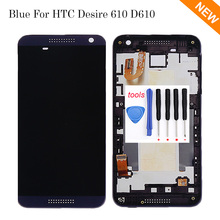 Blue LCD For HTC Desire 610 D610 LCD Display + Touch Screen with Digitizer + Bezel Frame Assembly + Open Tools , Free shipping