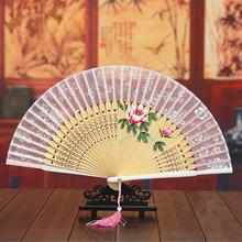 3pcs/lot Wedding Bridal Folding Fans Flower Embriodered Bamboo Silk Handfans Show Performance Favors H134(China)