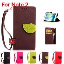 Leaf Clasp PU Leather Lather Lether Flip Wallet Phone Cell Case capa shell Cover Bag For Samsung Sansung Galaxy Note 2 N7100