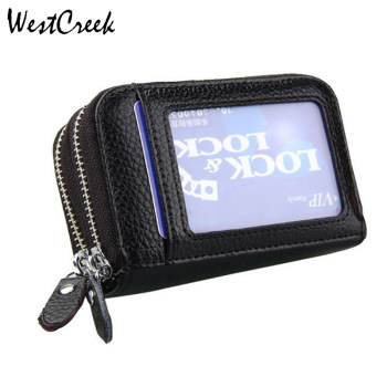 WESTCREEK Brand Women Genuine Leather ID Card Holders RFID Anti Magnetic Travel Wallets Men Large Capacity Business Card Holder