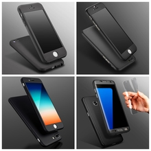 For iPhone 7 Plus 6 6S 5 5S SE Case Coverage of 360 Degree Temper Glass Cover For Samsung Galaxy S7 / Edge S8 Hard PC Full Body