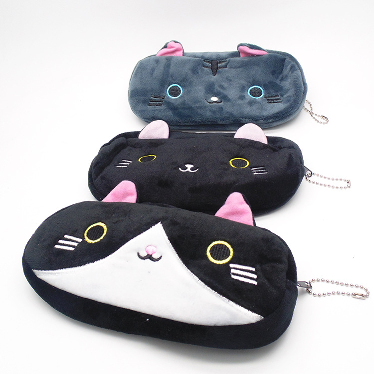 Plush Pencil Case School Supplies For Girls Stationery Office Cute Kawaii Cartoon Cat Pen Bag pouch kits Kids Gift Makeup bag (13)
