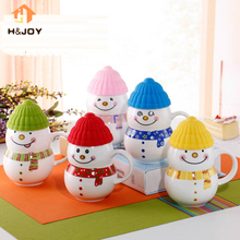 5 Colors Snowman Mug Cup Xmas Gift Christmas Gift Ceramic Mug Lovely Children Cup Milk Coffee Bottles Ceramic Milk Glass 360ml