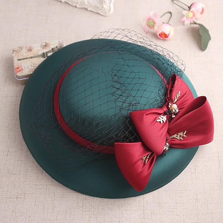 2017 New Design Bride Wedding Hat Vintage Green Silk Felt Red Bowler Veil Fascinator Hat For Royal Tea Party Bride Headwear<br><br>Aliexpress