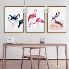 Triptych Lovely Adorable Flamingo Deer Hello Kitty Painting Canvas Fabric Artwork Aesthetic Wall Picture for Bedroom Home Decor
