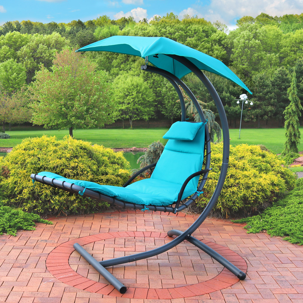 Sunnydaze Floating Chaise Lounger Swing Chair with Canopy, 79 Inch Long, 260 Pound Capacity (2)