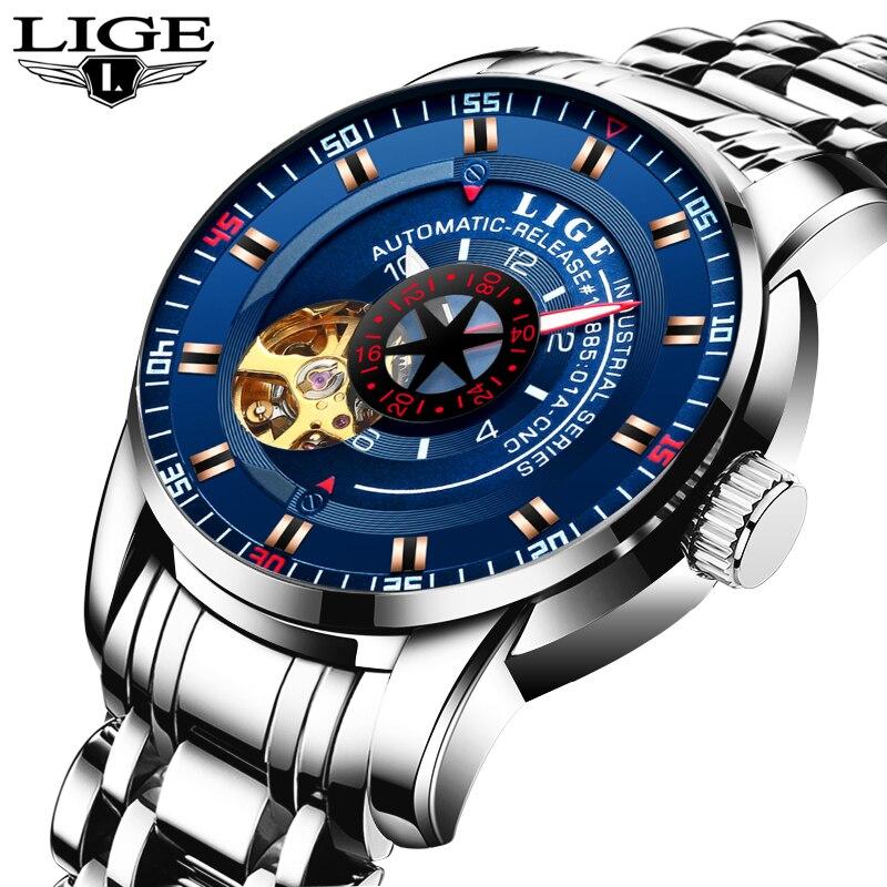 LIGE Brand Automatic Mechanical Watch Men Hollow Fashion Luxury Stainless Steel Business Men Watch Male Clock relogio masculino<br>