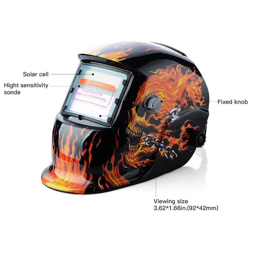 New Skull Solar Auto Darkening MIG MMA Electric Welding Mask/Helmet/welder Cap/Welding Lens for Welding Machine<br>