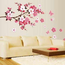 % wholesale beautiful sakura wall stickers living bedroom decorations diy flowers pvc home decals mural arts poster Wallpaper