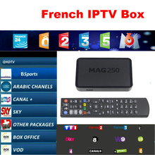 Mag250 iptv set top box Media player with 1 year Qhdtv 1000+ Live Europe French Arabic Africa Channels IPTV box