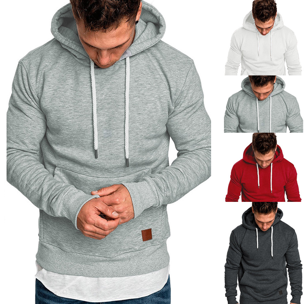 Mens Long Sleeve Pullover Sweatshirt Hoodie Autumn and Winter Fashionable Pure Colour Blouse Hooded Sweater Tops,M-5XL