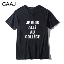 "GAAJ ""Je suis alle au College"" Print Letter Men & Women Unisex T Shirts Shirts V Neck Tshirt Tops T Shirt Fashion Funny Tees(China)"