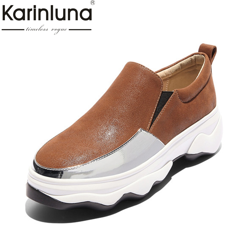 Karinluna Womens Comfy Slip On Thick Platform Flat Shoes Woman Color Mixed Leisure Casual Shoes Big Size 32-43<br>