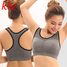 KLV 2017 Women Summer Straps Push Up Padded Bra Shakeproof Stretch brassiere Fitness Bras Top Seamless Vest(China)