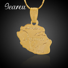Wholesale New French Reunion Islands Map Pendant & Necklace Vintage Gold/Silver Color Snake Chain For Men/Women Jewelry Gift(China)
