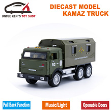 Free shipping Russian KAMAZ Military Model Diecast Truck, Metal Toy, Alloy Cars With Pull Back Function/Music/Light/For Kids(China)