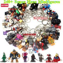 Kaygoo Single Sale DC Marvle Batman Deadpool Captain America hotKeychain Building Block DIY Assemble Toys Xmas Gifts(China)