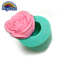 Food grade Silicone mold for cake decoration 3D wedding rose shape candle form handmade chocolate rose soap resin mold S0081HM25(China)