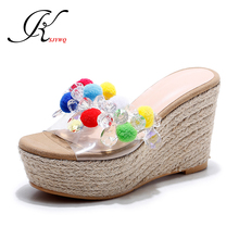 KSJYWQ Diamonds Women Mules Genuine leather Summer Slippers 8 CM High heels Sexy Open-toe Wedges Casual Shoes Box Packing L083