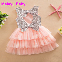Malayu Baby 2016 Girl's summer fasion sequins bowknot dress , Back less love costumes kids , girls tutu dress 2-6 year(China)