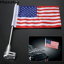 Mgoodoo Motorcycle Rear Mount Flag Pole Luggage Rack Vertical American For Honda Golden Wing GL1800 Bike Decoration Accessories