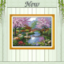 The beautiful scenery of Park,11CT printed on canvas DMC 14CT Cross Stitch kit,needlework embroidery Set,Scenic Home Decoration