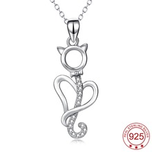 YFN 925 Sterling Silver Necklace Jewelry Collier Love Heart Cute Cat Crystal Pendant Necklace Fashion Jewelry For Women(China)