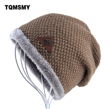 New style bonnet Winter Hats for Men Knitting wool Beanie women Casual Cap men's Beanies Plus velvet gorros Solid color Skullies