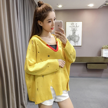 2017 New Autumn Winter Loose Hooded Sweater Sleeve Head Students Hole Blouse Shirt Gray White Yellow 2981(China)