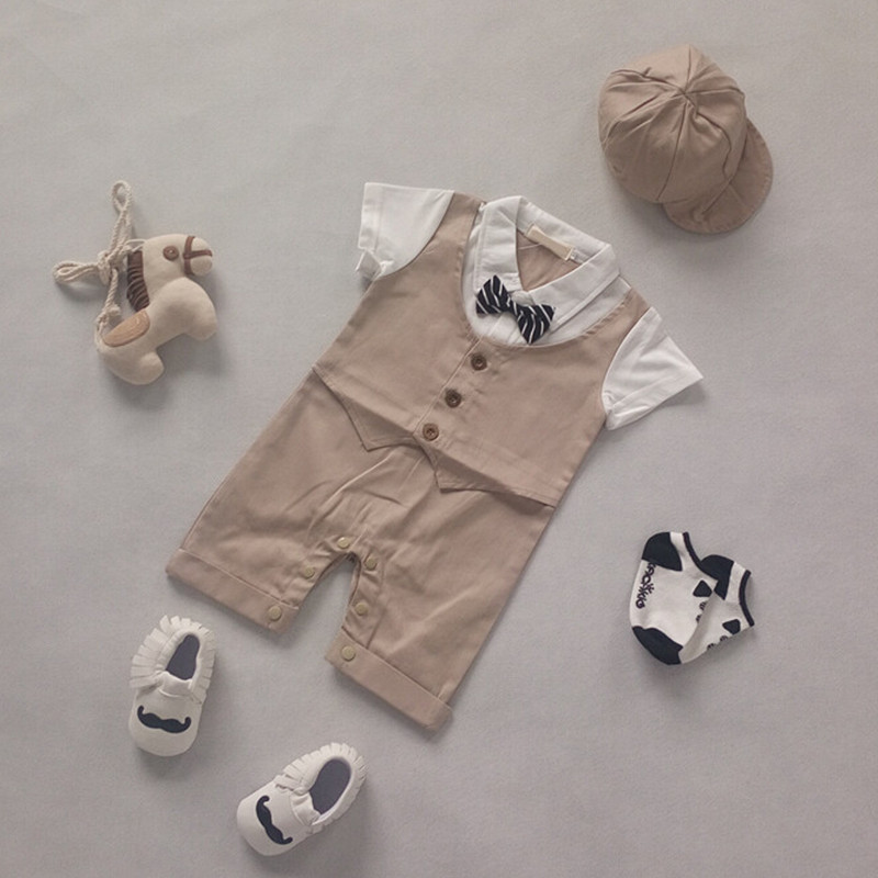 Summer Newborn Romper 2pcs Romper + hat Baby Boy Jumpsuit With Bow Tie Infant Next Clothes Toddler Costume Vetement Garcon<br><br>Aliexpress