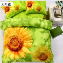 3D Bedclothes Sunflower 4pcs Bedding Sets  King Or Queen Reactive Print